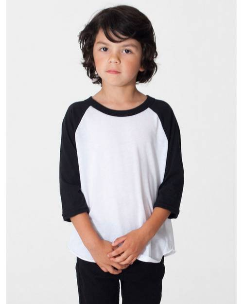 American Apparel BB153W Toddler Poly-Cotton 3/4 Sleeve T-Shirt