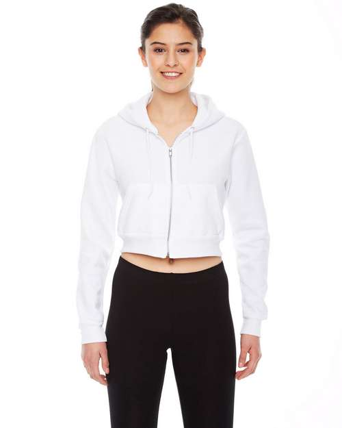American Apparel Logo Embroidered Cropped Fleece Zip Hoodie - For Women