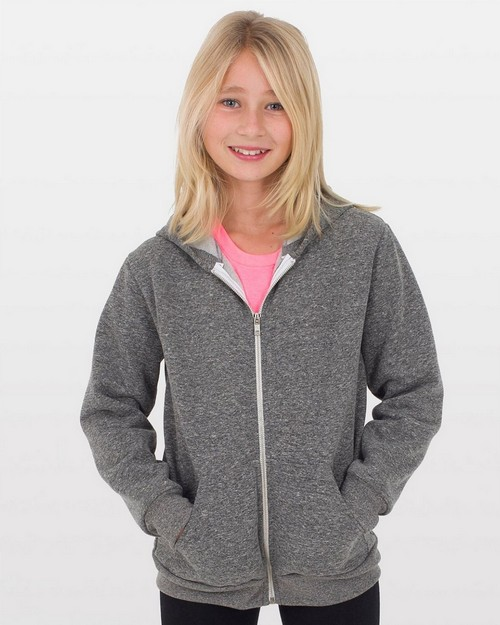 American Apparel MT297 Drop Ship Youth Salt & Pepper Zip Hoodie