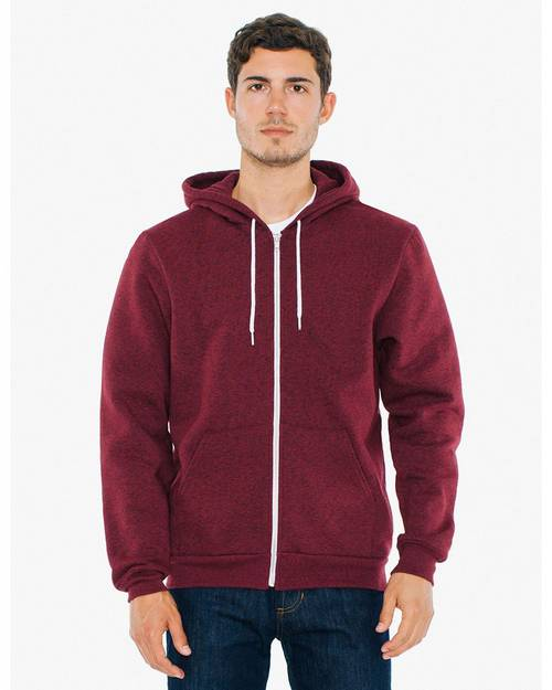 American Apparel MT497W Unisex Salt And Pepper Hooded Zip Sweatshirt