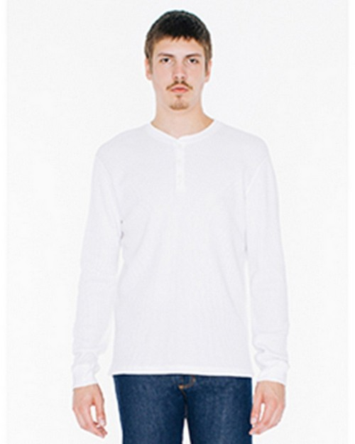 American Apparel WT457 Unisex Classic Thermal Long-Sleeve Henley