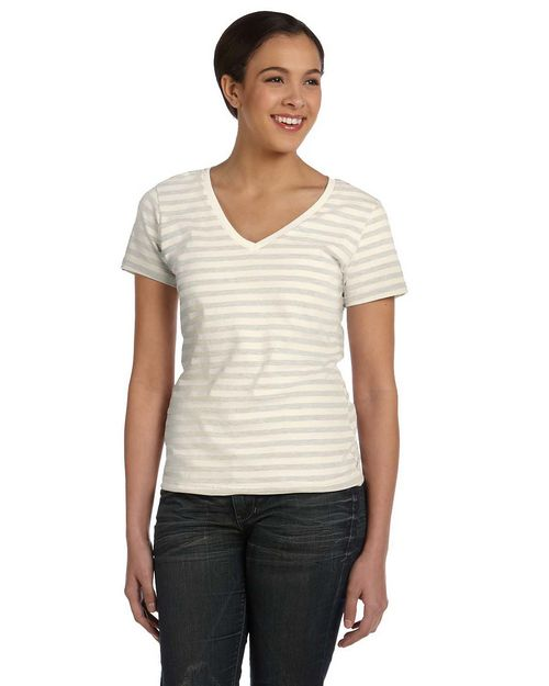 Anvil 8823 Ladies Striped V-Neck T-Shirt