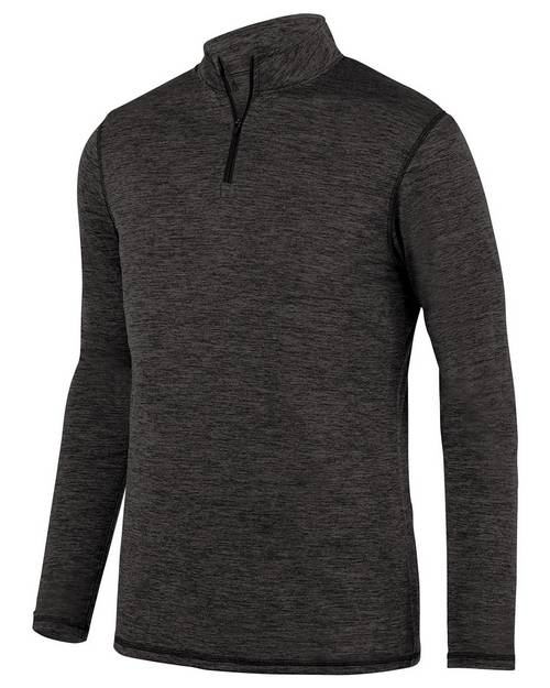 Augusta Sportswear 2955 Mens Intensify Black Heather Quarter-Zip Pullover