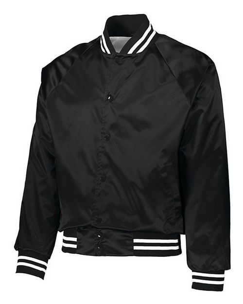 Augusta Sportswear 3610 Mens Satin Baseball Jacket Striped Trim