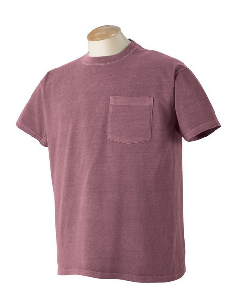 Authentic Pigment 1969P 5.6 oz. Pigment-Dyed & Direct-Dyed Ringspun Pocket T-Shirt