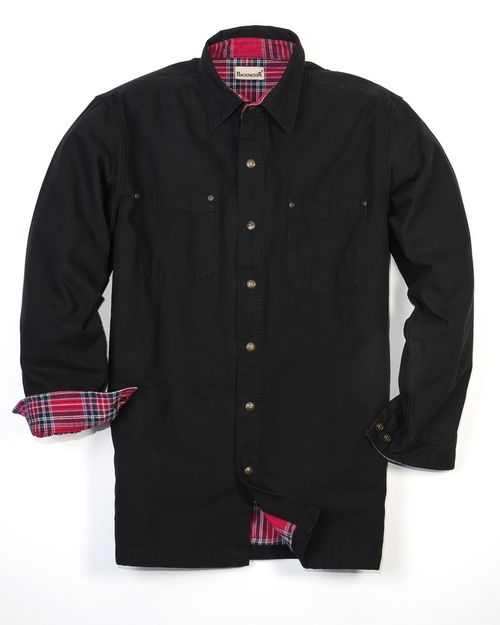 Backpacker BP7006T Mens Tall Canvas Shirt Jacket with Flannel Lining