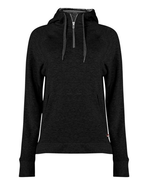 Badger 1051 Women's Fitflex French Terry Hooded 1/4 Zip