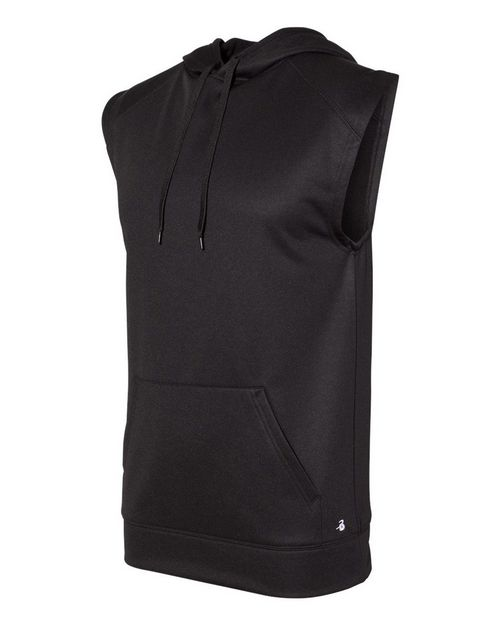 Badger 1430 Men Sleeveless Performance Fleece Hooded Pullover