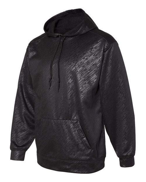 Badger 1431 Mens Line Embossed Hooded Pullover Performance Fleece Sweatshirt