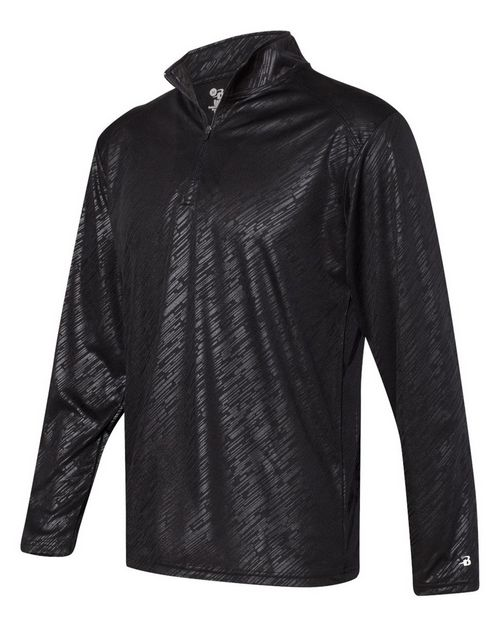Badger 4134 Line Embossed Quarter-Zip Long Sleeve Tee