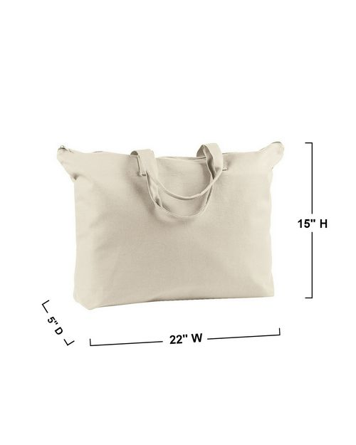 BAGedge BE009 12 oz. Canvas Zippered Book Tote