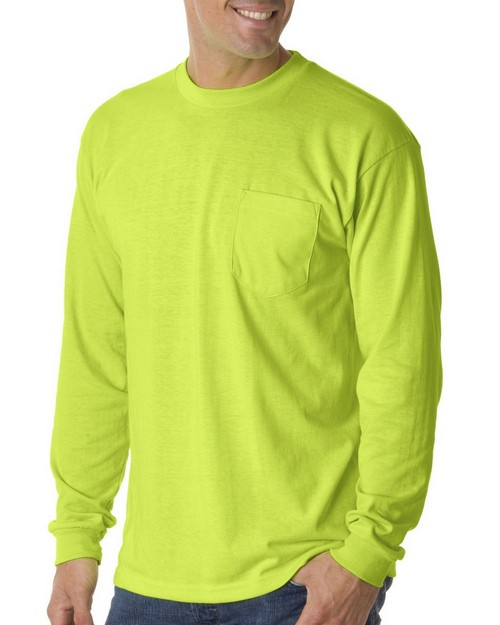 Bayside 1730 50/50 Long Sleeve Pocket T shirt