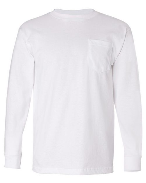 Bayside 8100 Mens Pocket Long-Sleeve Tee
