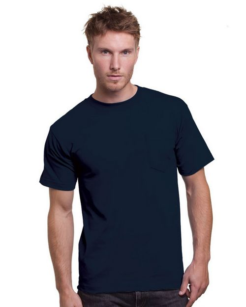 Bayside BA3015 Adult Cotton Pocket T-Shirt