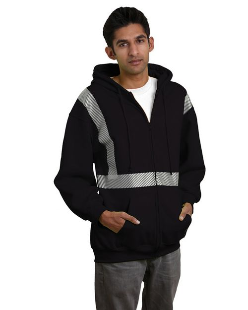 Bayside BA3737 9.5 oz.; 80/20 Hi-Visibility Full-Zip Hooded Sweatshirt