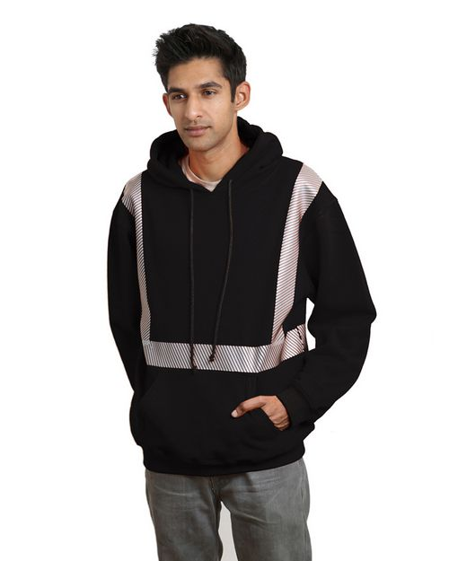 Bayside BA3739 Men Hi-Visibility Segmented Striping Pullover Hooded Sweatshirt