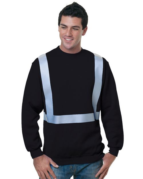 Bayside BA3792 Men Heavyweight Hi-Visibility Solid Striping Sweatshirt