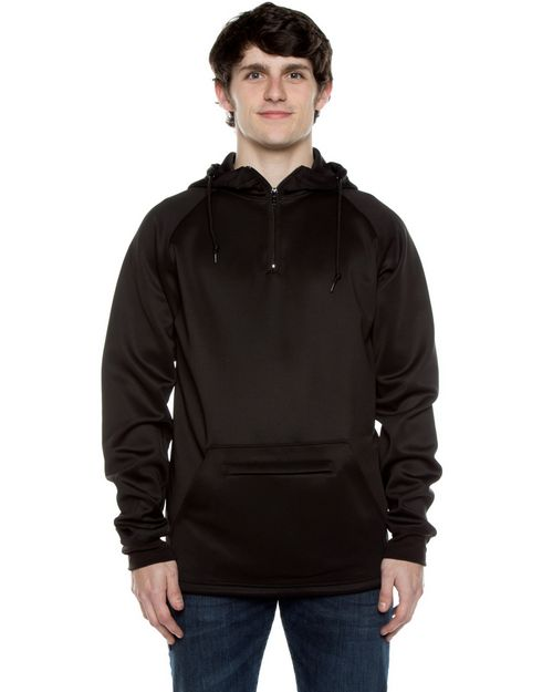Beimar ALR107 Unisex 9 oz. Polyester Quarter-Zip Hooded Sweatshirt