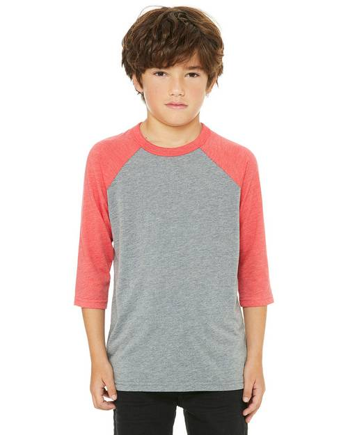 Bella + Canvas 3200Y Youth 3/4 Sleeve Baseball T-Shirt