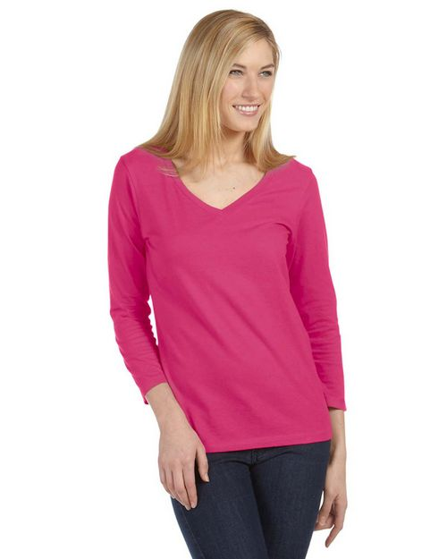 Bella + Canvas 6425 Ladies Missy 3/4-Sleeve V-Neck Jersey T-Shirt