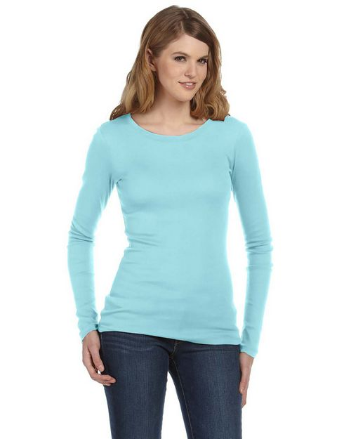 Bella + Canvas 8751 Ladies Sheer Mini Rib Long-Sleeve T-Shirt