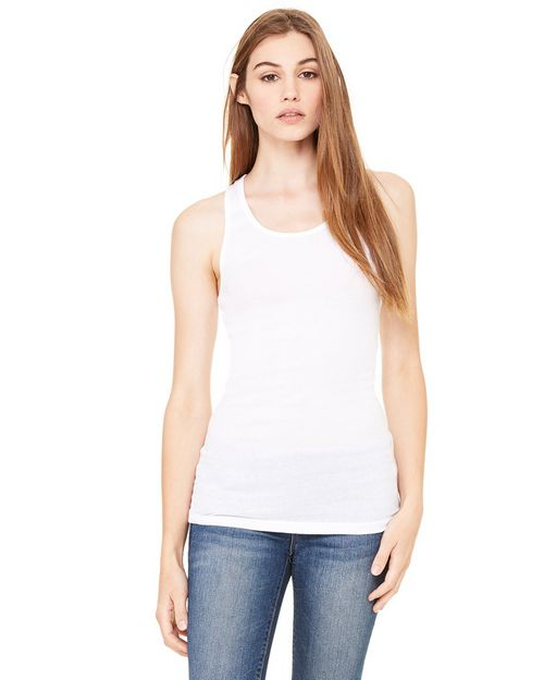 Bella + Canvas 8770 Ladies Meredith Sheer Rib Longer-Length Racerback Tank