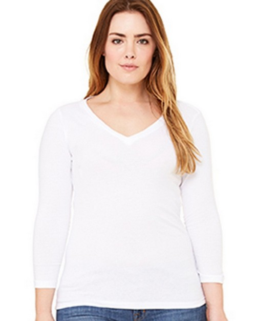 Bella + Canvas B6425 Missy 3/4 Sleeve V-Neck Tee