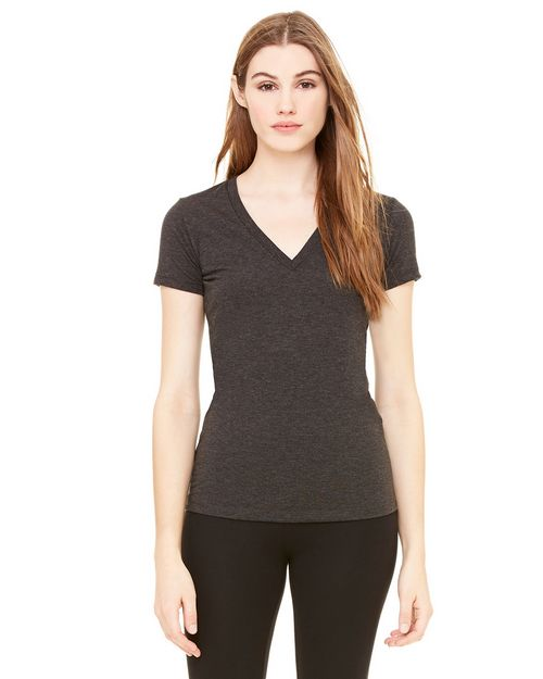 Bella + Canvas B8435 Ladies Triblend Short-Sleeve Deep V-Neck Tee