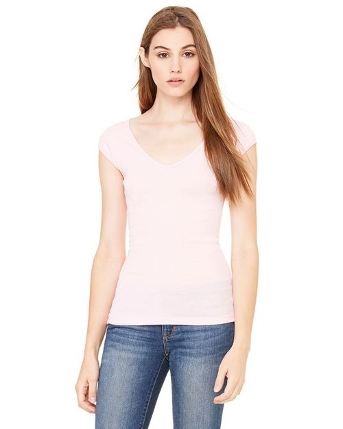 Bella + Canvas B8705 Ladies Sheer Mini Rib Cap-Sleeve Deep V-Neck T-Shirt