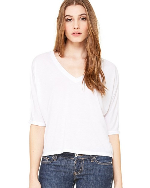 Bella + Canvas B8825 Womens Flowy 1/2 Sleeve Cropped Tee