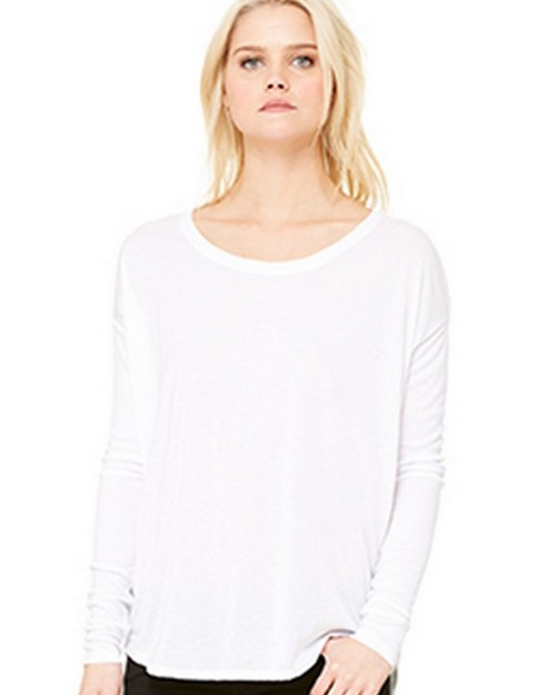 Bella + Canvas B8852 Womens Flowy Long Sleeve Tee With 2x1 Sleeves