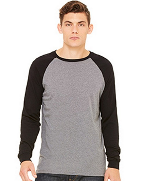 Bella + Canvas C3000 Mens Jersey Long Sleeve Baseball Tee