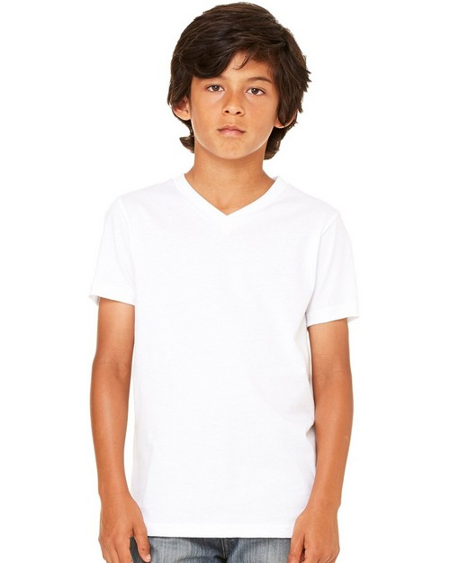Bella + Canvas C3005Y Youth Jersey Short Sleeve V-Neck Tee