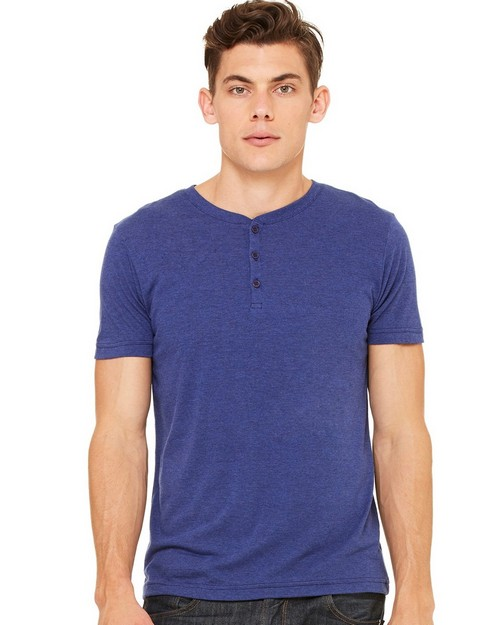 Bella + Canvas C3125 Mens Triblend Short Sleeve Henley
