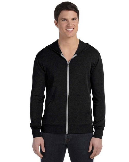 Bella + Canvas 3939 Unisex Triblend Full Zip Lightweight Hoodie