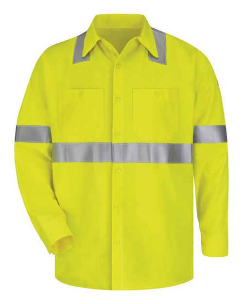 Bulwark SMW4L High Visibility Long Sleeve Work Shirt Long Sizes