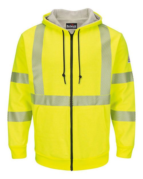 Bulwark SMZ4HV Hi-Visibility Zip-Front Hooded Fleece Sweatshirt