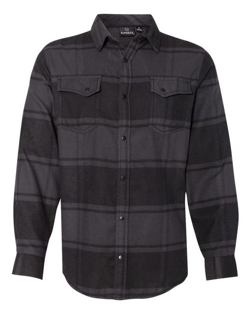 Burnside 8219 Snap Front Long Sleeve Plaid Flannel Shirt