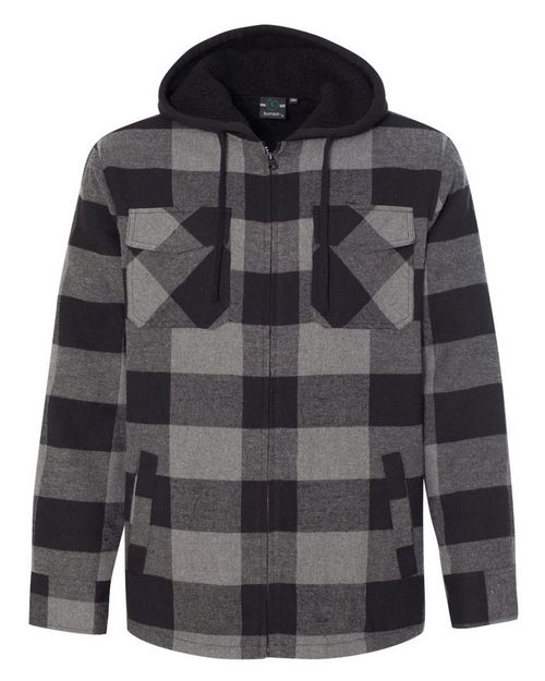Burnside 8620 Quilted Flannel Full-Zip Hooded Jacket