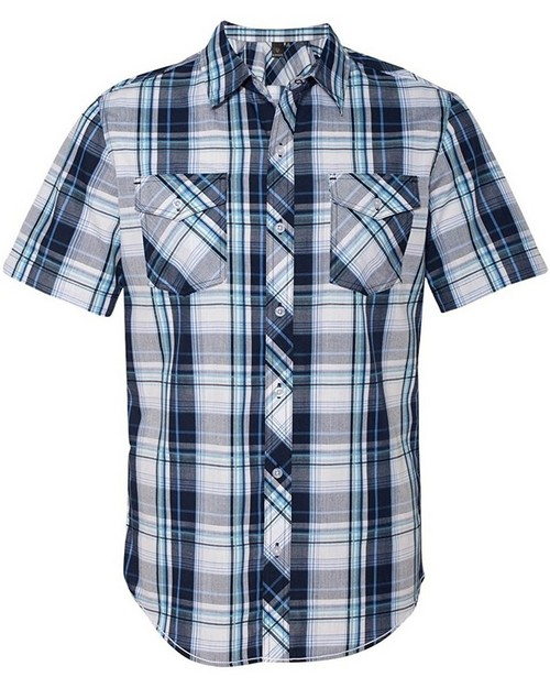 Burnside 9202 Short Sleeve Plaid Pattern Woven