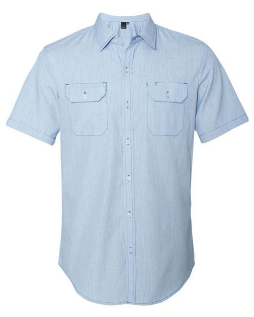 Burnside 9265 Dobby-Stripe Short Sleeve Shirt