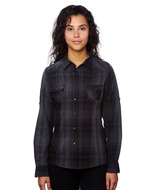 Burnside B5206 Ladies Western Plaid Long-Sleeve Shirt