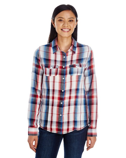 Burnside B5222 Ladies Long-Sleeve Plaid Pattern Woven