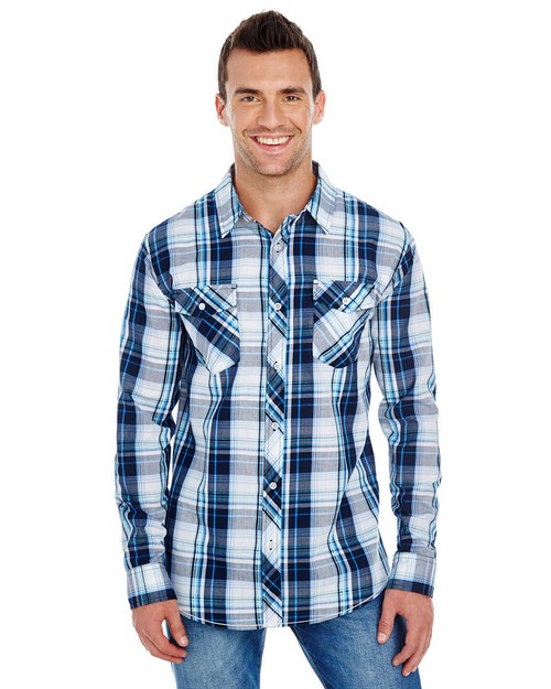 Burnside B8202 Mens Long-Sleeve Plaid Pattern Woven