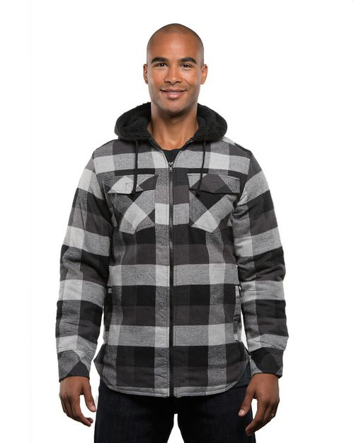 Burnside B8620 Mens Hooded Flannel Jacket