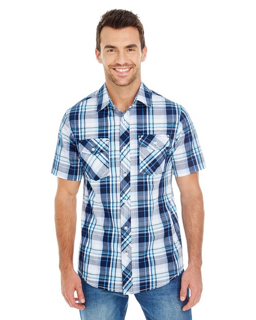 Burnside B9202 Mens Short-Sleeve Plaid Pattern Woven