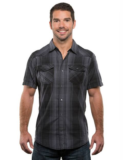 Burnside B9206 Mens Plaid Pattern Western Woven Shirt