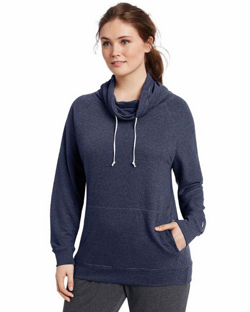Champion QW1238 Womens Plus French Terry Funnel Neck Top
