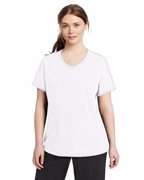 Champion QW1244 Vapor Womens Plus Jersey V-Neck Tee
