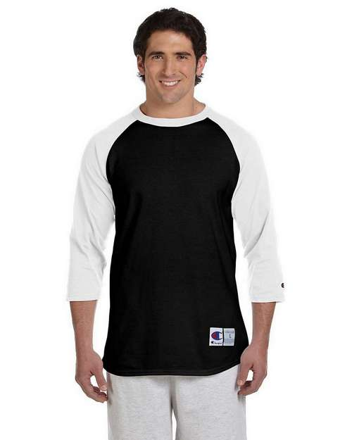 Champion T1397 100% Cotton Tagless Raglan Baseball T Shirt